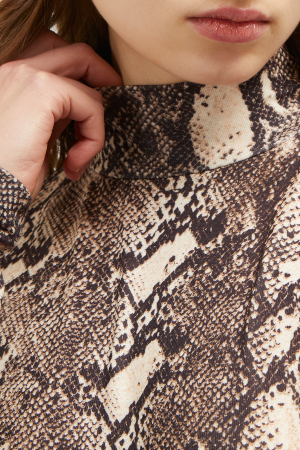 French Connection SNAKE PRINT HIGH NECK TOP - Back Cropped Image