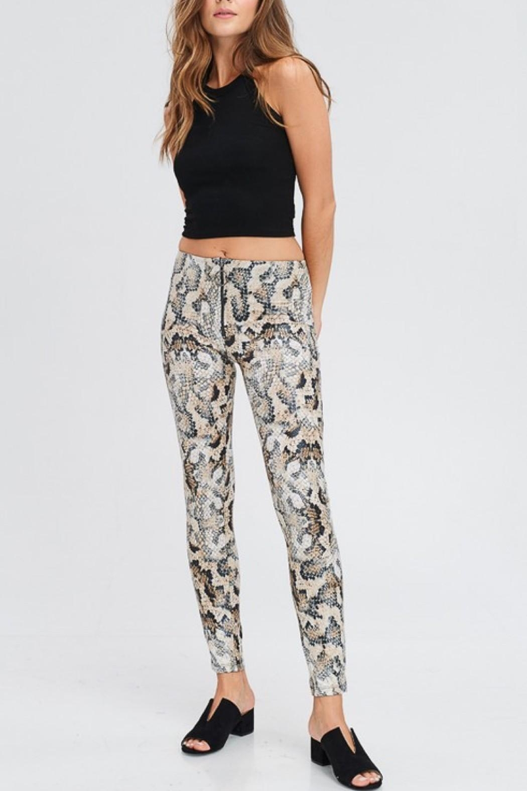 Love in  Snake Print Leggings - Front Cropped Image
