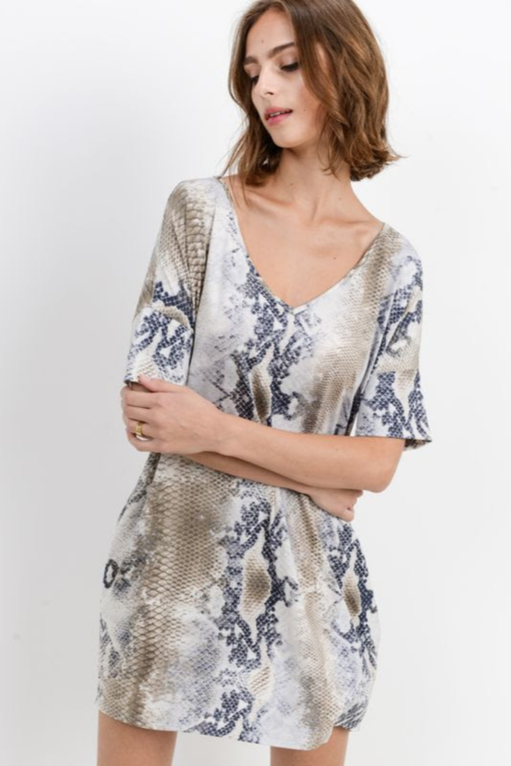 Cherish  Snake Print Loose Fit Dress w Side Pockets - Front Full Image