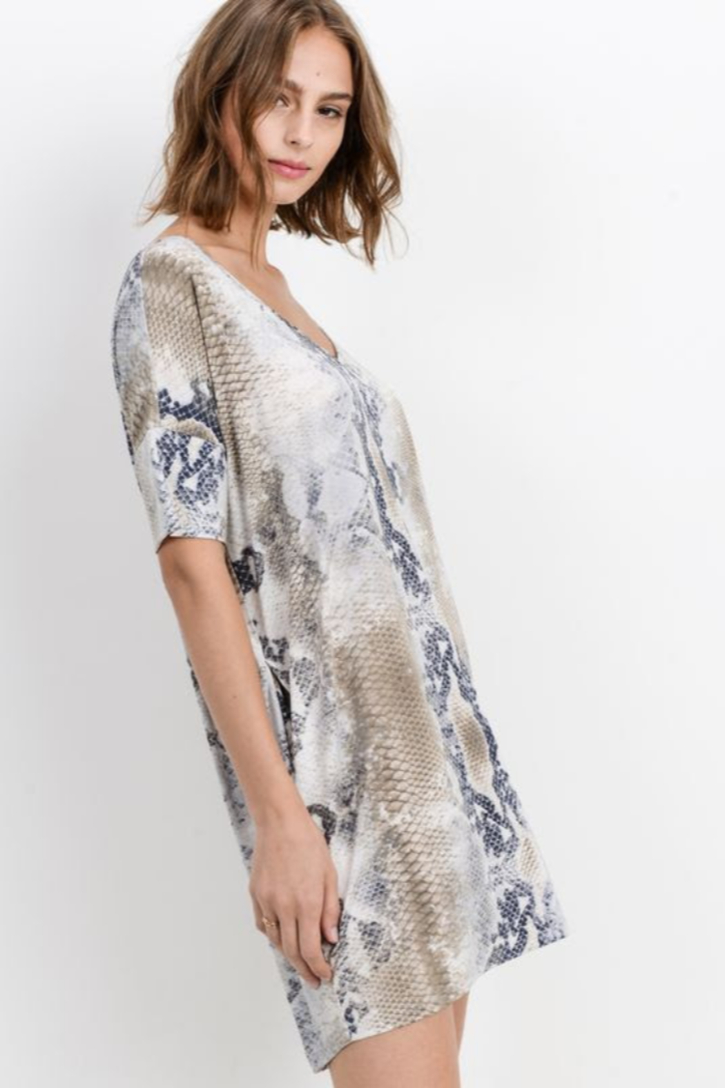 Cherish  Snake Print Loose Fit Dress w Side Pockets - Back Cropped Image