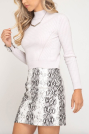AVVIOLA Snake Print Mini Skirt - Front full body
