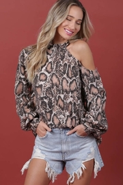 Blue Buttercup Snake Print Open-Shoulder Top - Product Mini Image