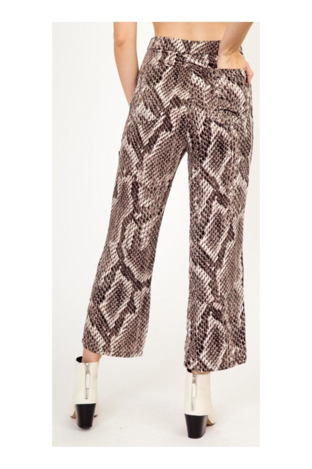 Polly & Esther Snake Print Pants - Side Cropped Image