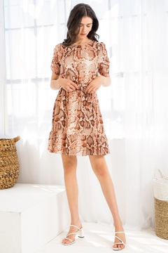 Thml SNAKE PRINT RUCHED MINI DRESS - Product List Image
