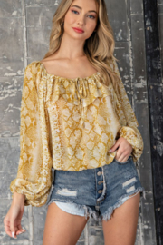 ee:some Snake Print Ruffle Top - Product Mini Image