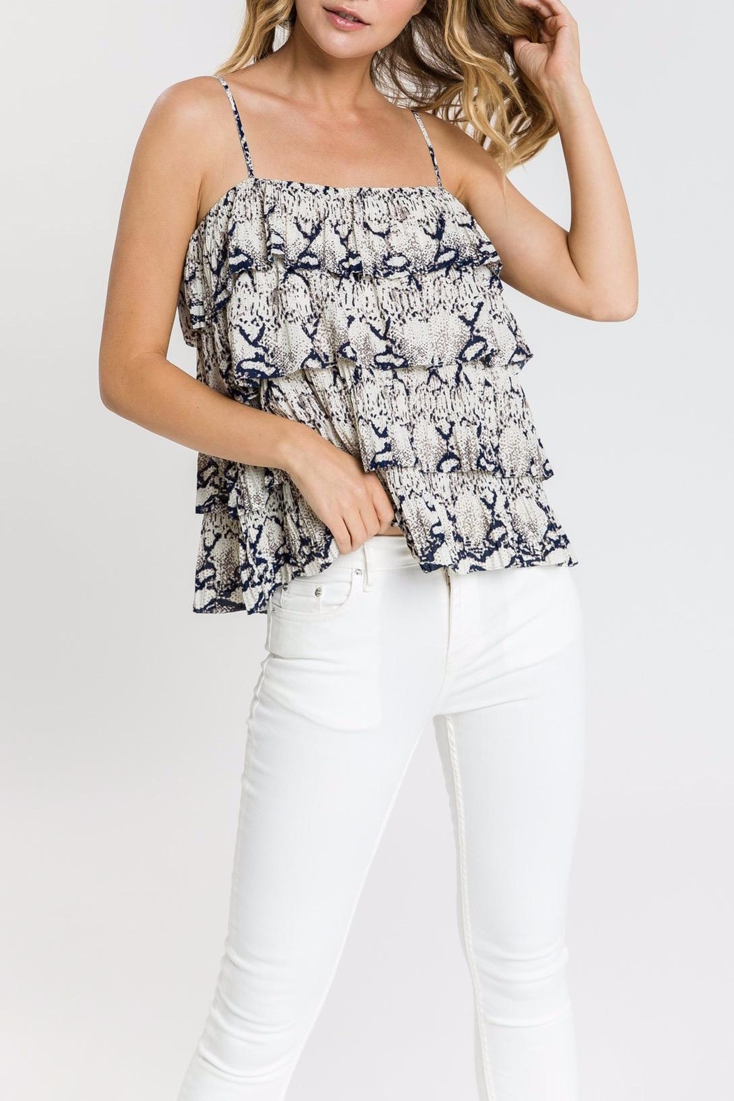 Endless Rose Snake-Print Ruffle Top - Front Cropped Image