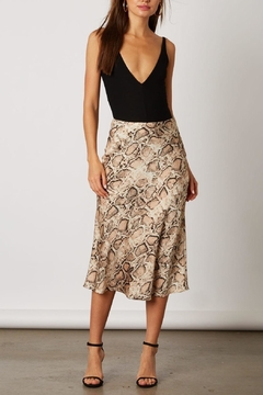 Shoptiques Product: Snake-Print Satin Midi-Skirt