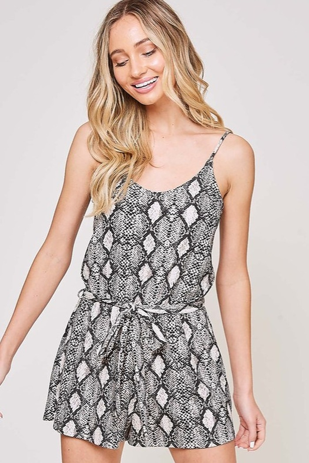Fantastic Fawn  Snake Print Sleeveless Romper - Front Cropped Image