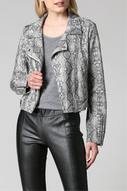 FATE by LFD Snake Print Sueded Moto Jacket - Front cropped
