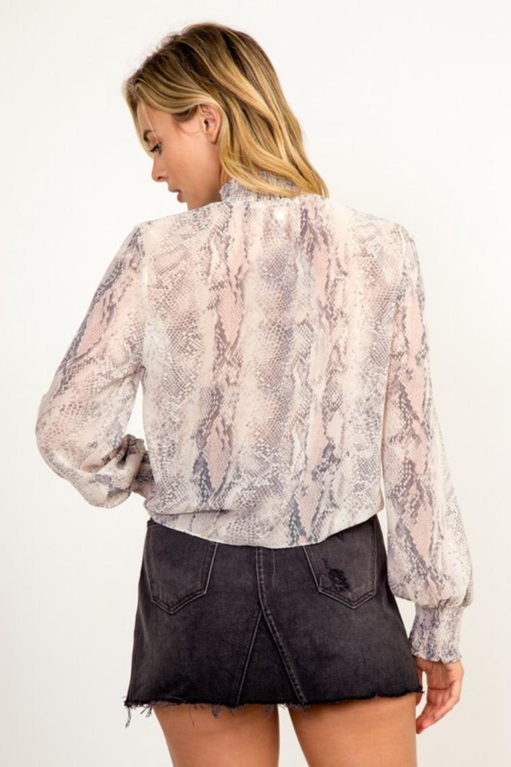 Olivaceous Snake Print Top - Back Cropped Image