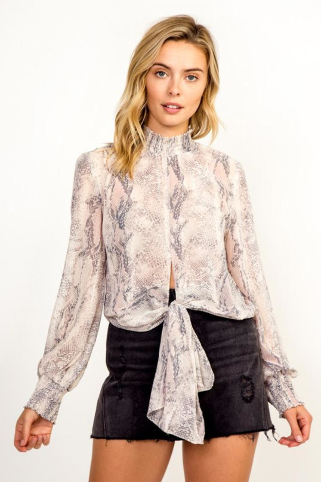 Olivaceous Snake Print Top - Main Image