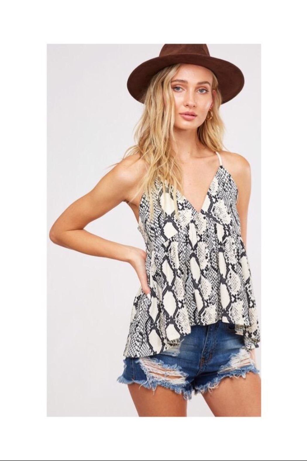 Peach Love California Snake Print Top - Front Cropped Image