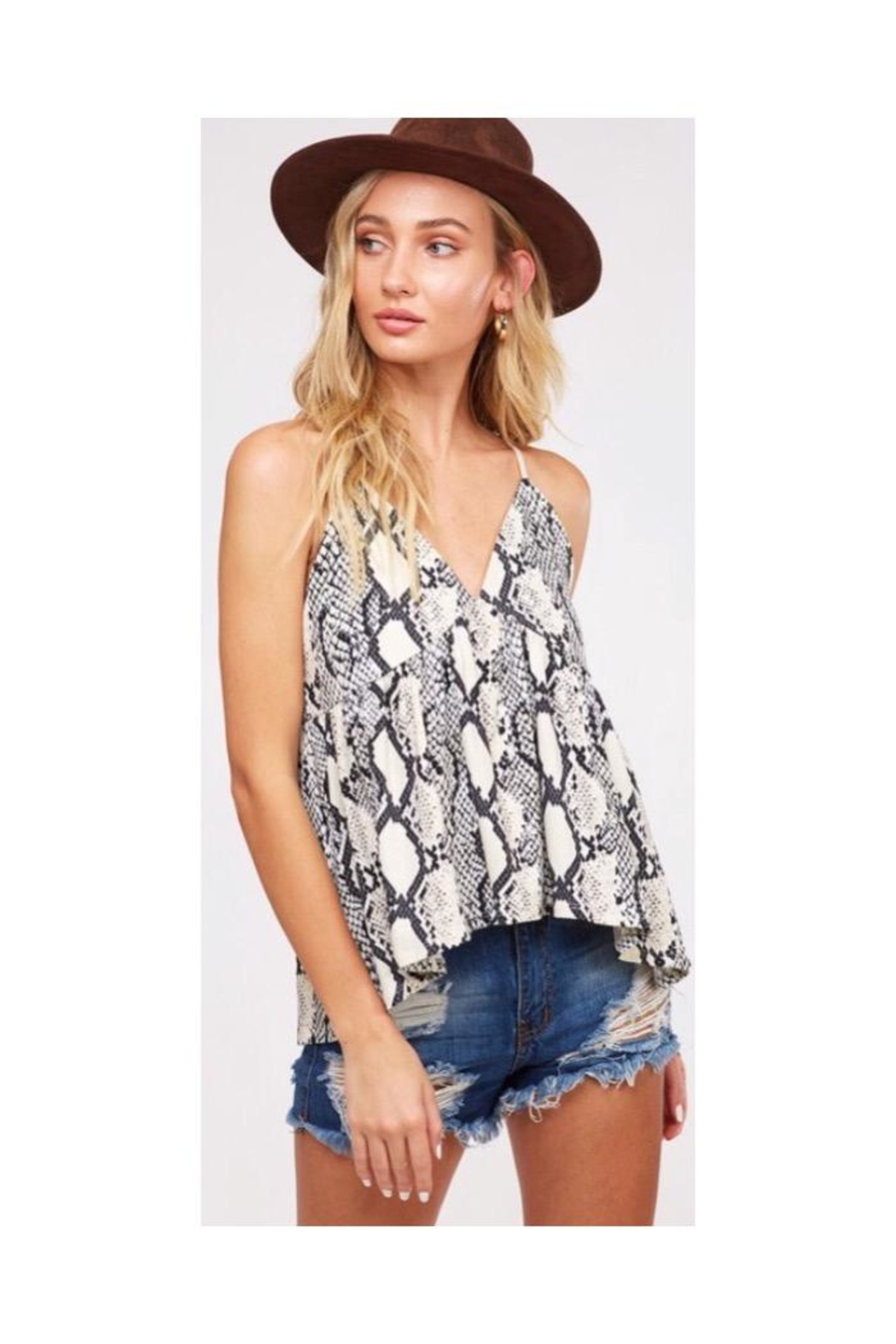 Peach Love California Snake Print Top - Front Full Image