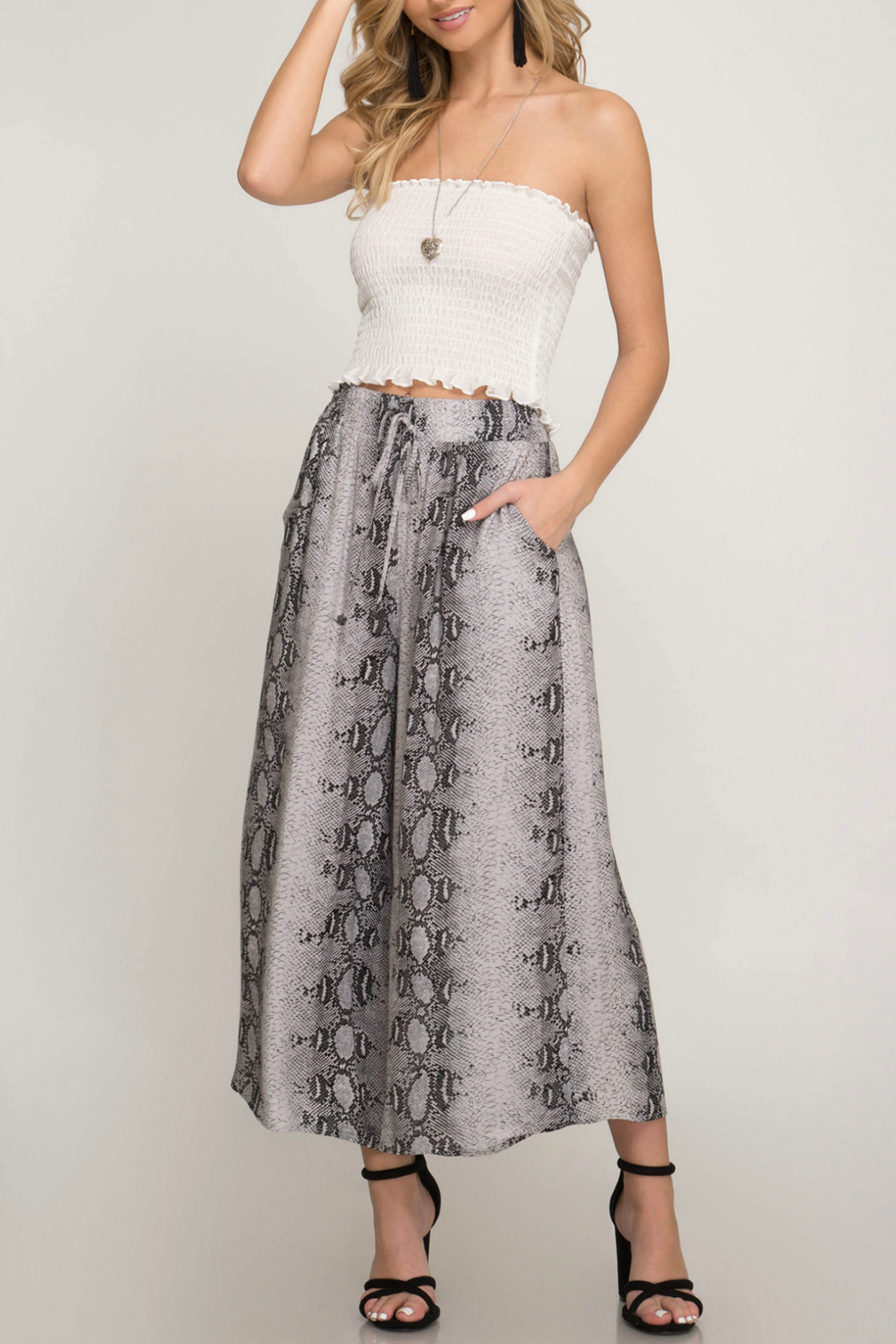 She & Sky  Snake print woven pants - Front Cropped Image