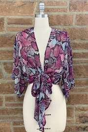 Adrienne Snake Print Wrap Top - Product Mini Image