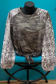 Vintage Havana Snake Skin and Camo Print  Burnout Jersey Top - Product Mini Image