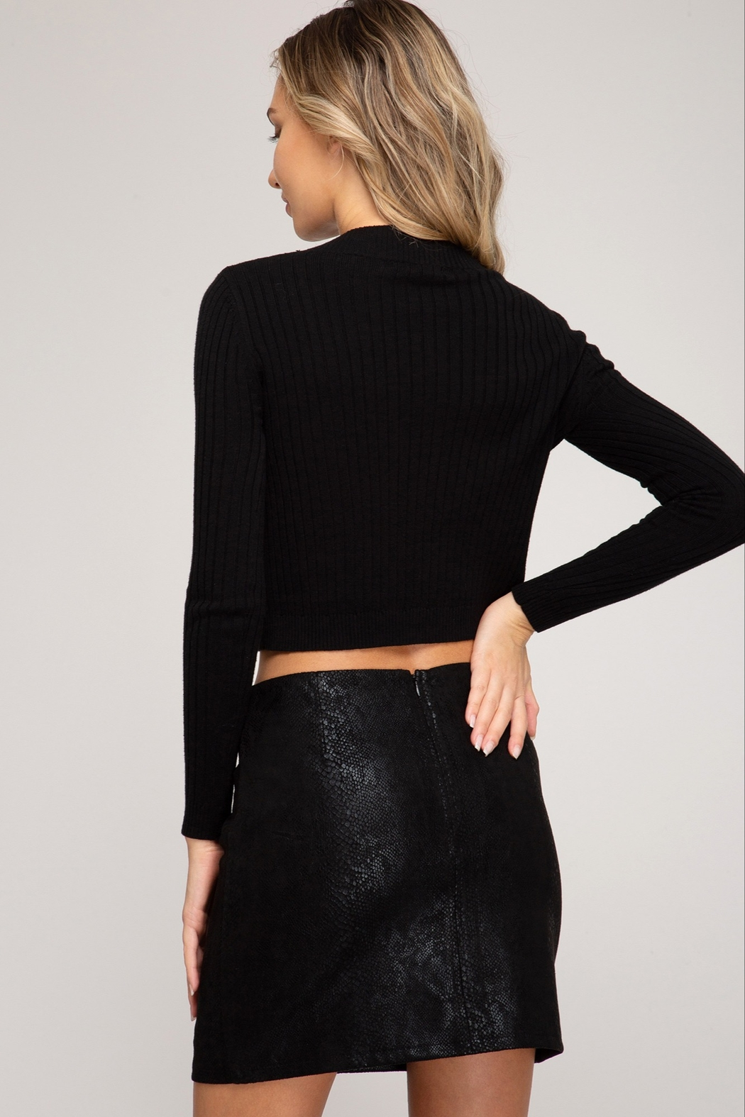 She and Sky Snake Skin Print Faux Suede Mini Skirt - Front Full Image
