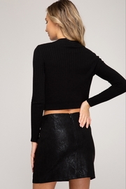 She and Sky Snake Skin Print Faux Suede Mini Skirt - Front full body