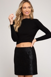 She and Sky Snake Skin Print Faux Suede Mini Skirt - Front cropped