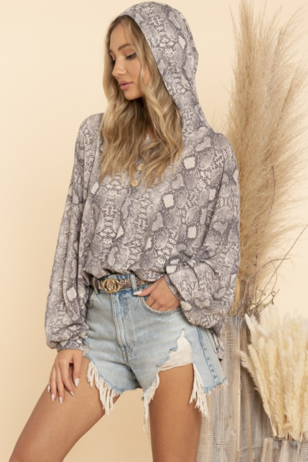 Blue Buttercup Snake Skin Print Hooded Top - Main Image