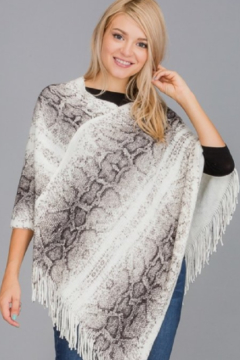 Cap Zone Snake Skin Print Knit Poncho - Product List Image