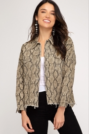 She and Sky Snake Skin Print Washed Woven Jacket - Product Mini Image