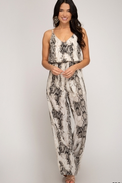 Shoptiques Product: Snake Skin Printed Woven Jumpsuit
