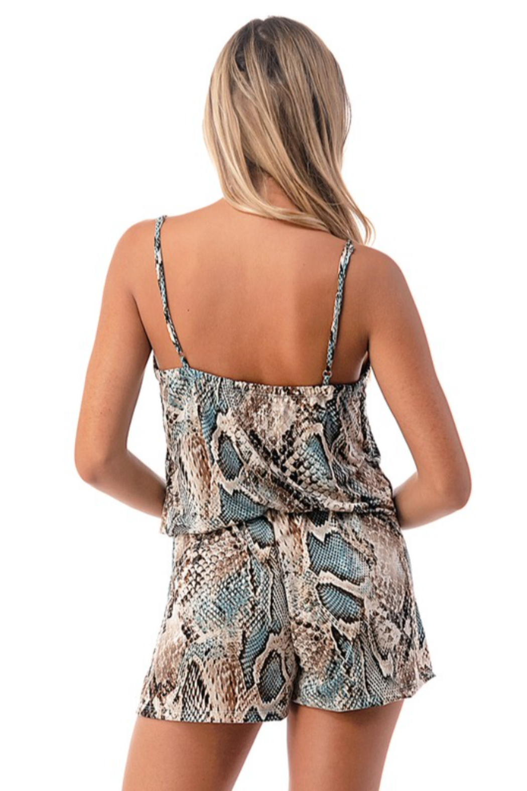 Ariella USA Snake Skin Tank Romper w Pockets - Back Cropped Image