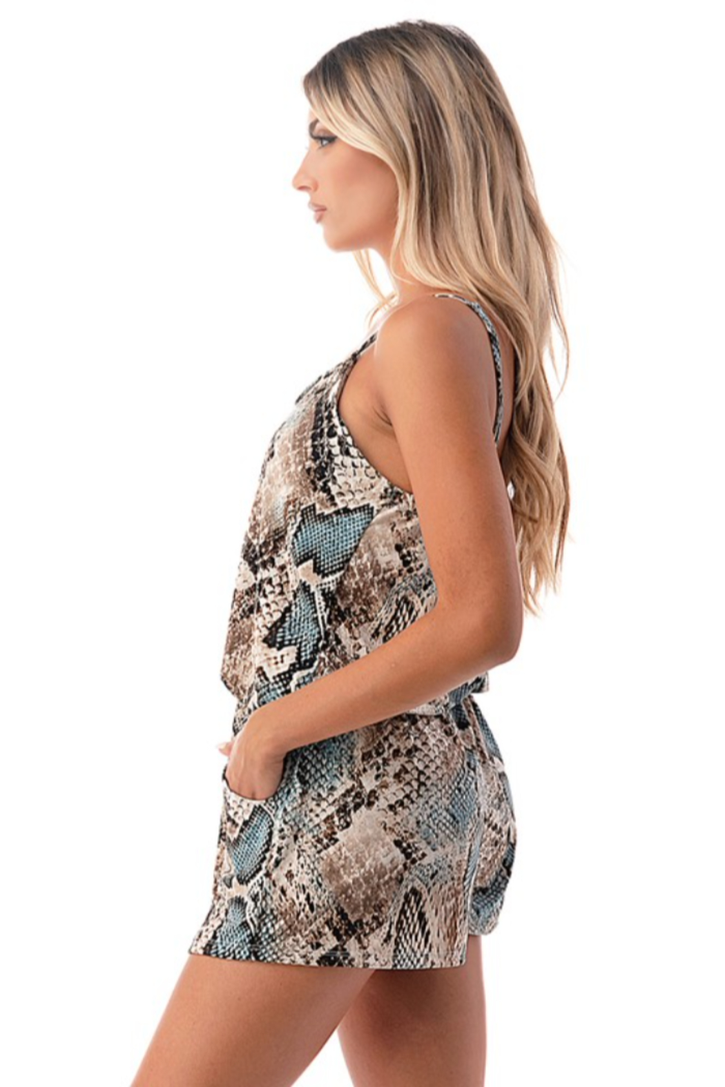 Ariella USA Snake Skin Tank Romper w Pockets - Side Cropped Image