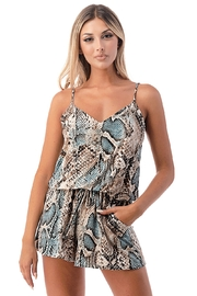 Ariella USA Snake Skin Tank Romper w Pockets - Front cropped