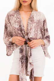 Olivaceous Snake Tie Top - Product Mini Image