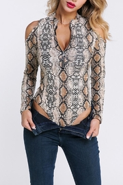 Private Label Snakeskin Cold-Shoulder Bodysuit - Front full body
