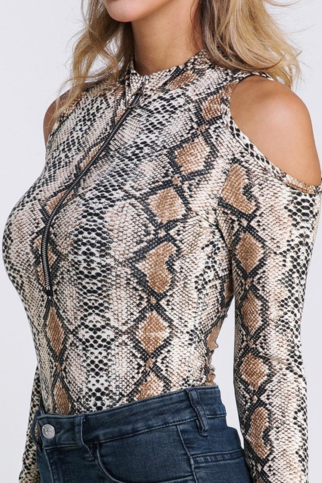 Private Label Snakeskin Cold-Shoulder Bodysuit - Side Cropped Image