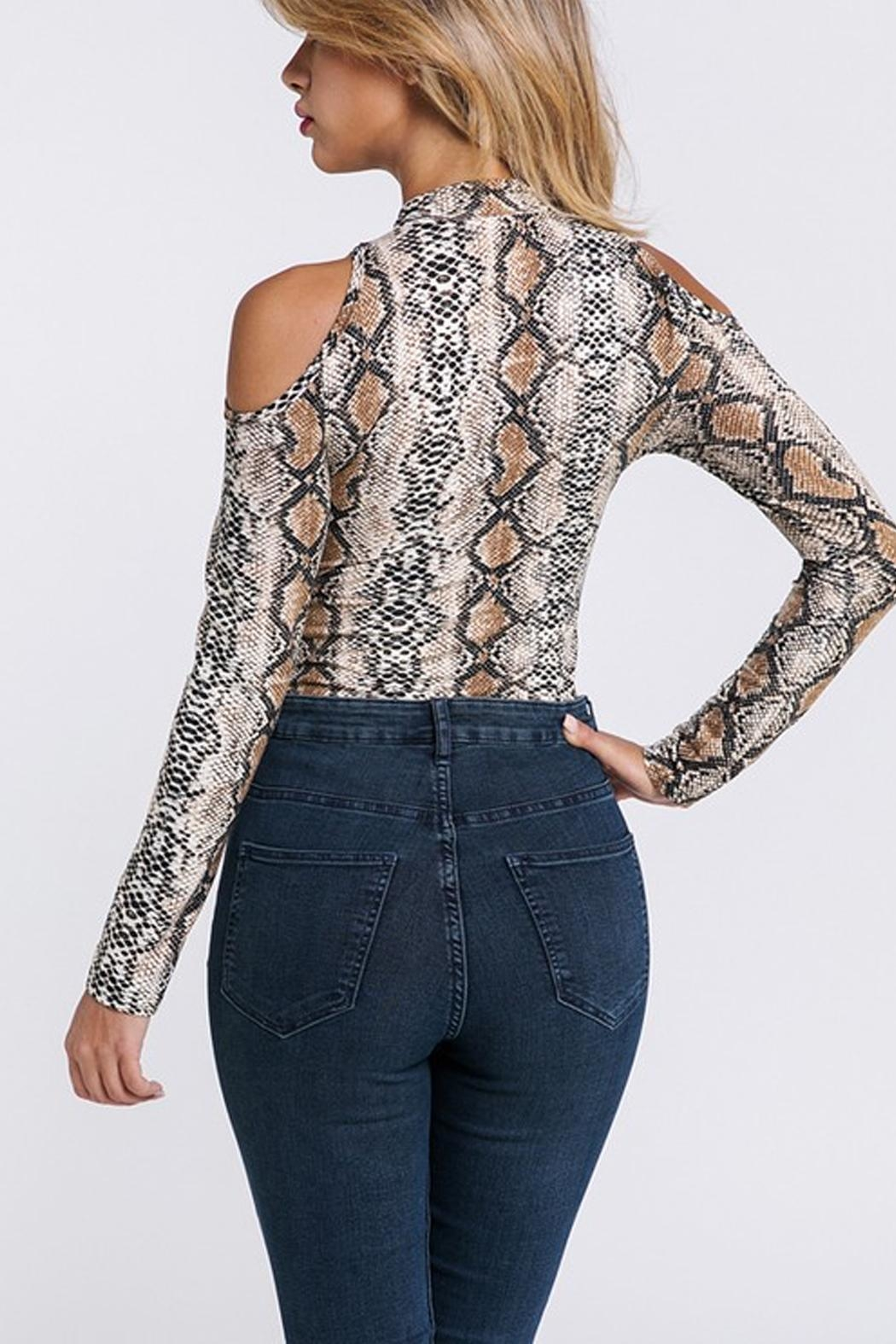 Private Label Snakeskin Cold-Shoulder Bodysuit - Back Cropped Image