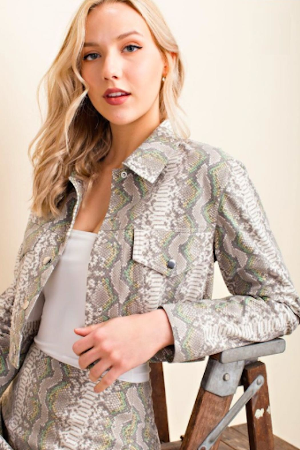 TIMELESS Snakeskin Crop Jacket - Main Image