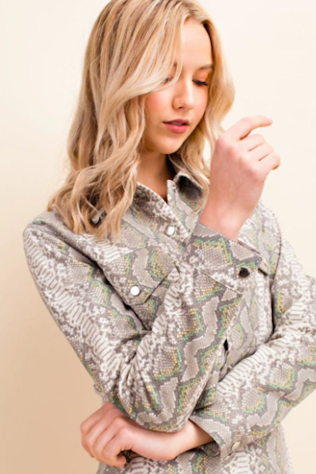 TIMELESS Snakeskin Crop Jacket - Front Full Image