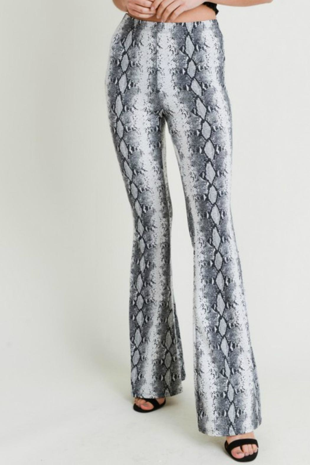 Pretty Little Things Snakeskin Flare Pants - Main Image
