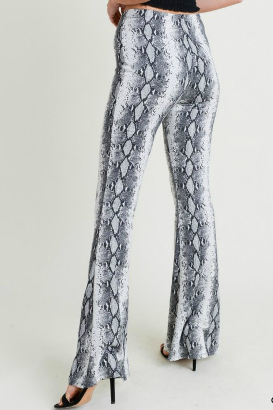Pretty Little Things Snakeskin Flare Pants - Front Full Image