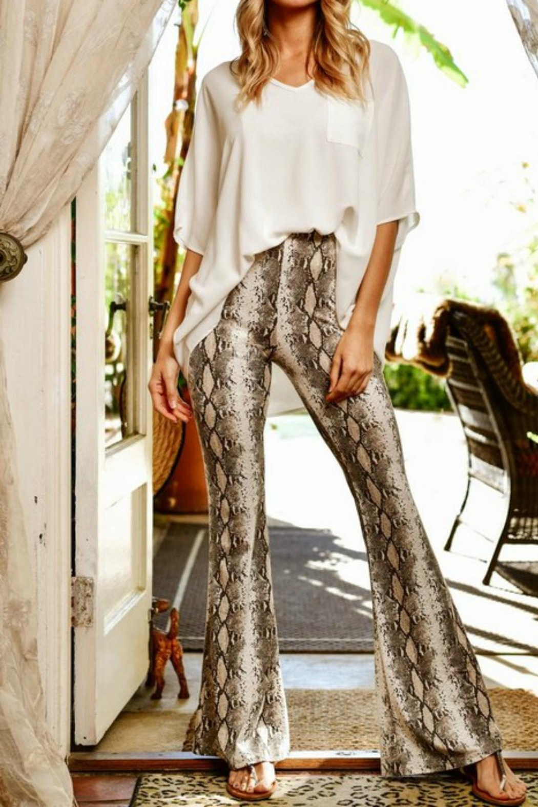Pretty Little Things Snakeskin Flare Pants - Front Cropped Image