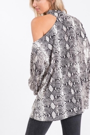 Bibi Snakeskin Knit Top with One Shoulder Strap - Front full body