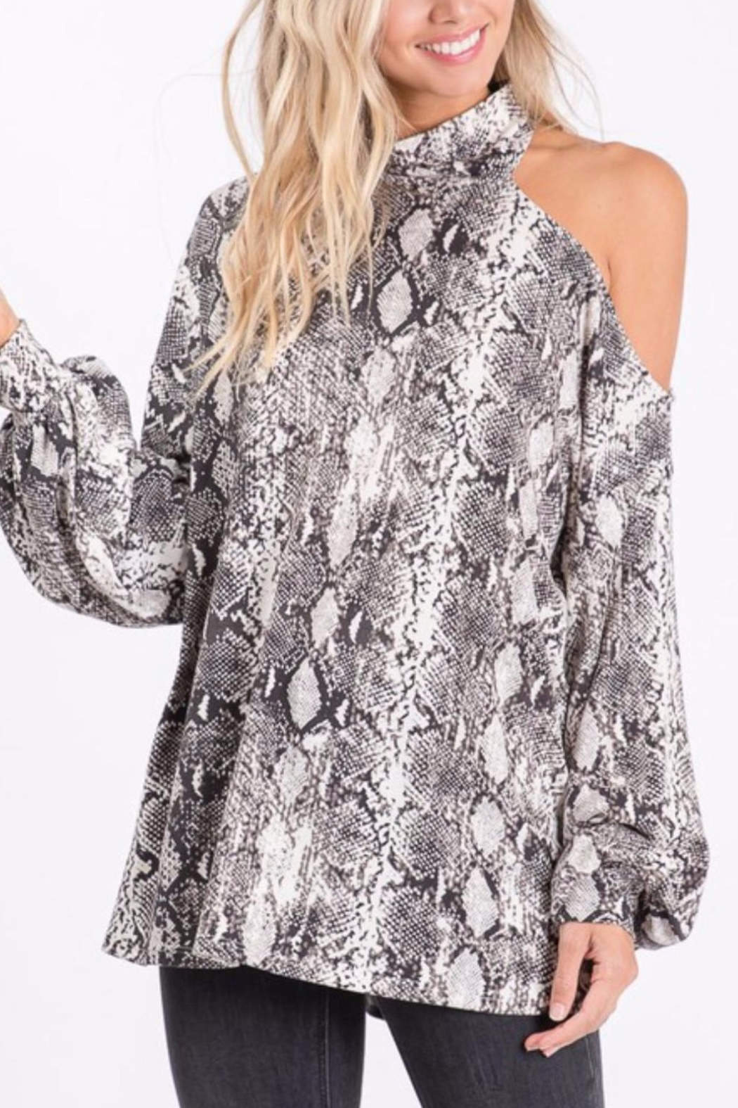 Bibi Snakeskin Knit Top with One Shoulder Strap - Front Cropped Image