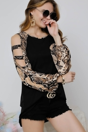 Adora Snakeskin Ladder Sleeve Top - Product Mini Image