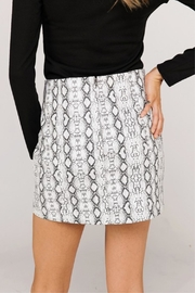 Newbury Kustom Snakeskin Mini Skirt - Front full body