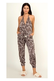 Polly & Esther Snakeskin Print Jumpsuit - Front cropped