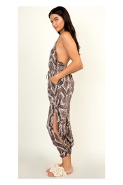 Polly & Esther Snakeskin Print Jumpsuit - Front full body