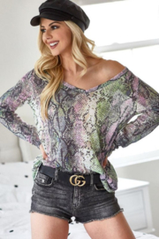 Bibi Snakeskin Print Low Gauge V Neck Top - Product Mini Image