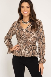 She + Sky Snakeskin Print Top - Product Mini Image