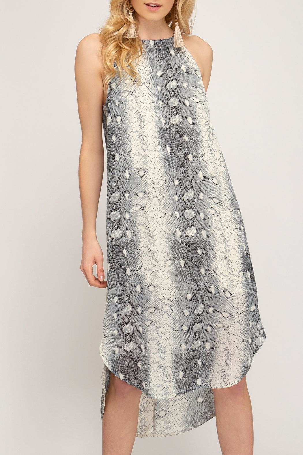 She + Sky Snakeskin Slip Dress - Main Image