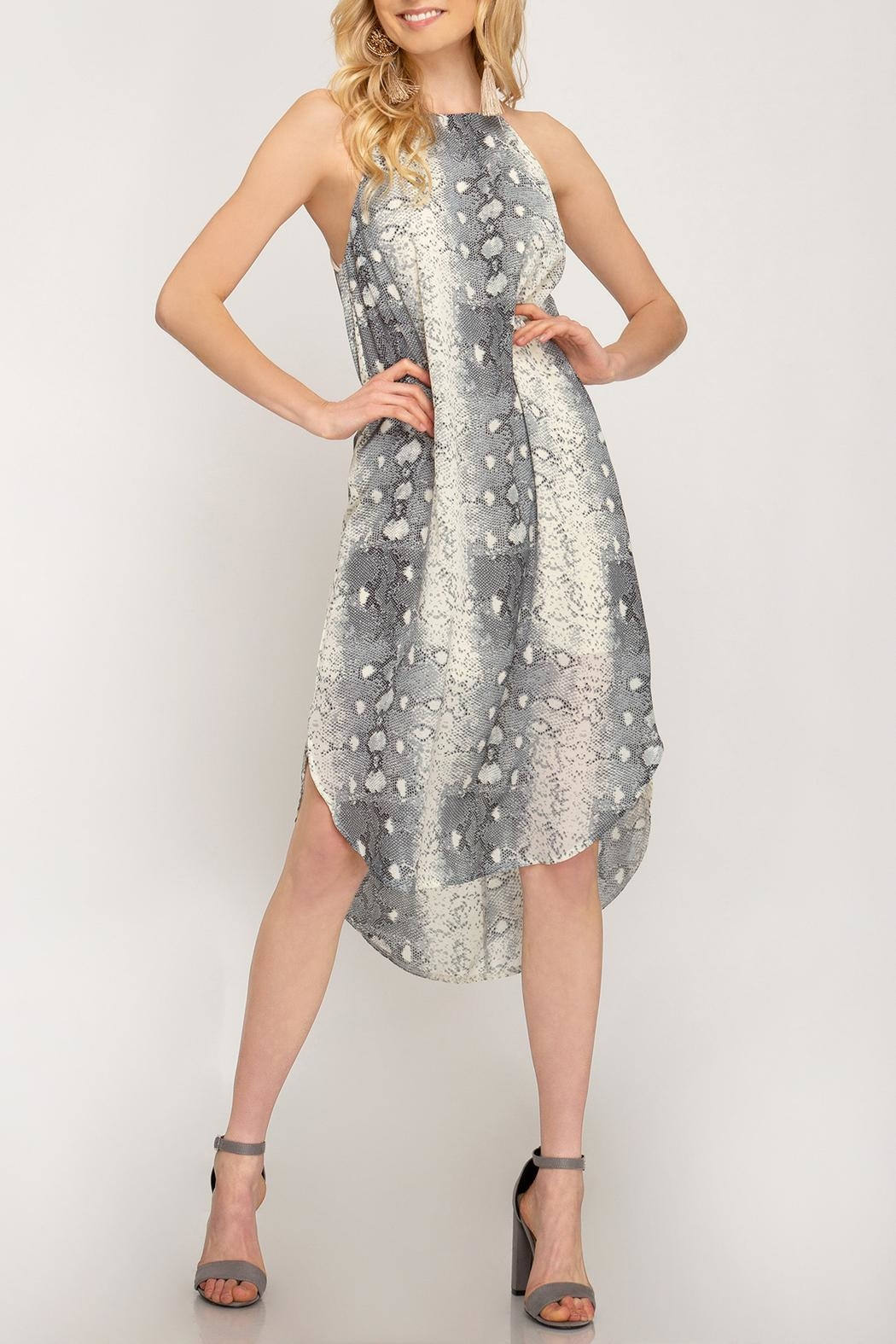 She + Sky Snakeskin Slip Dress - Front Full Image
