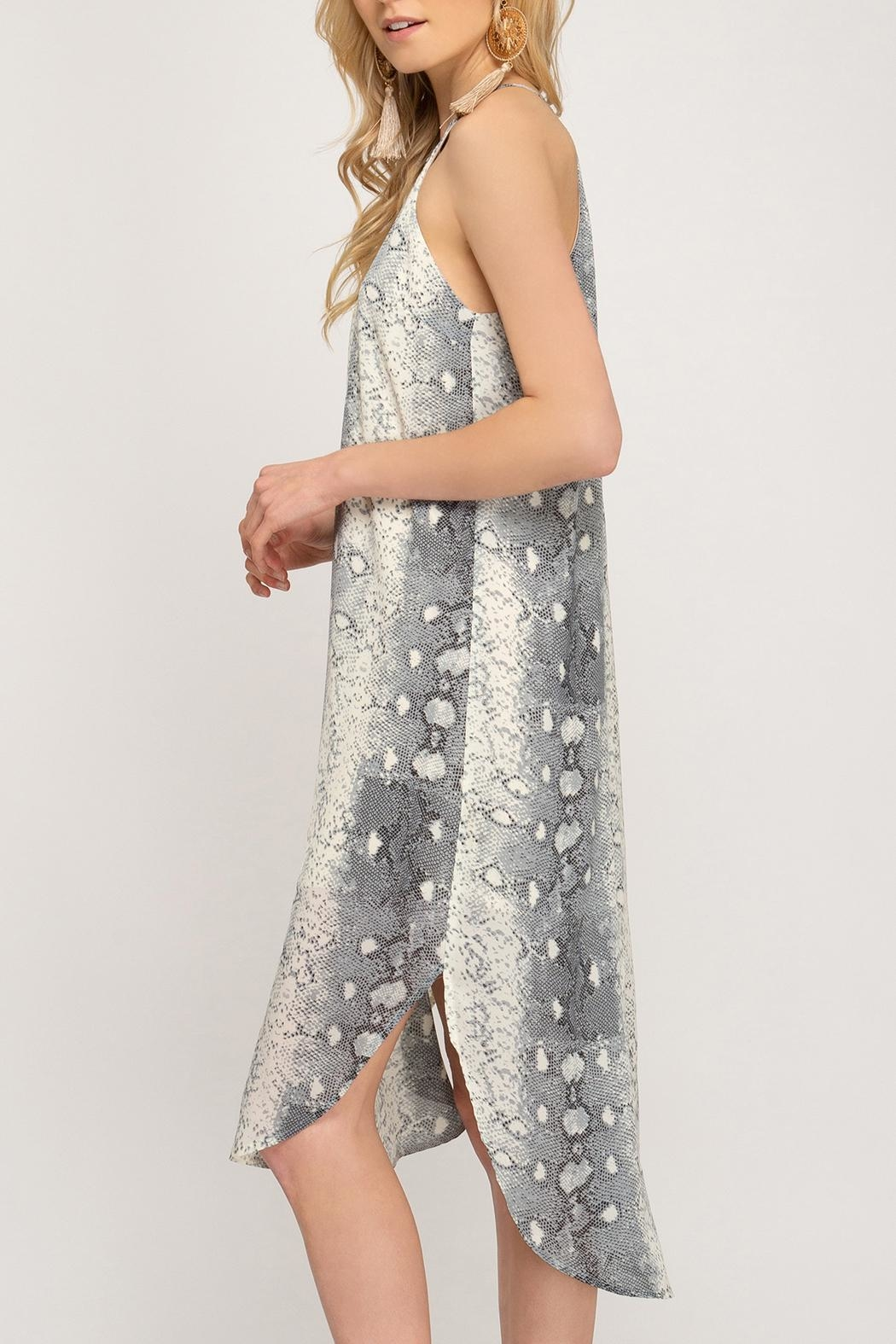 She + Sky Snakeskin Slip Dress - Back Cropped Image